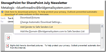 Add Outlook sender to safe senders list