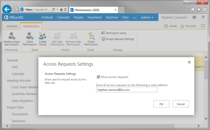 how to change the sharepoint site email address