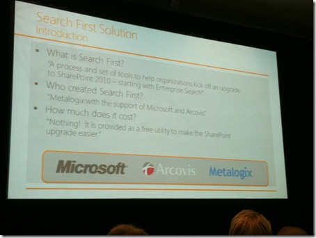 Microsoft SharePoint Search First at SharePoint Conference SPC11 Arcovis